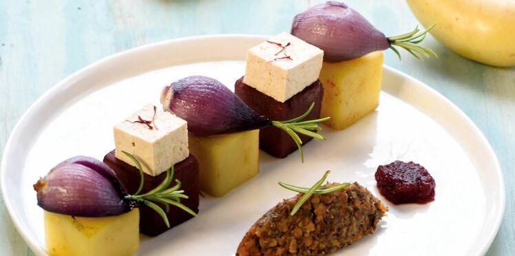 Cubes de Princesse Amandine, lentilles, petits oignons rouges au romarin et tofu