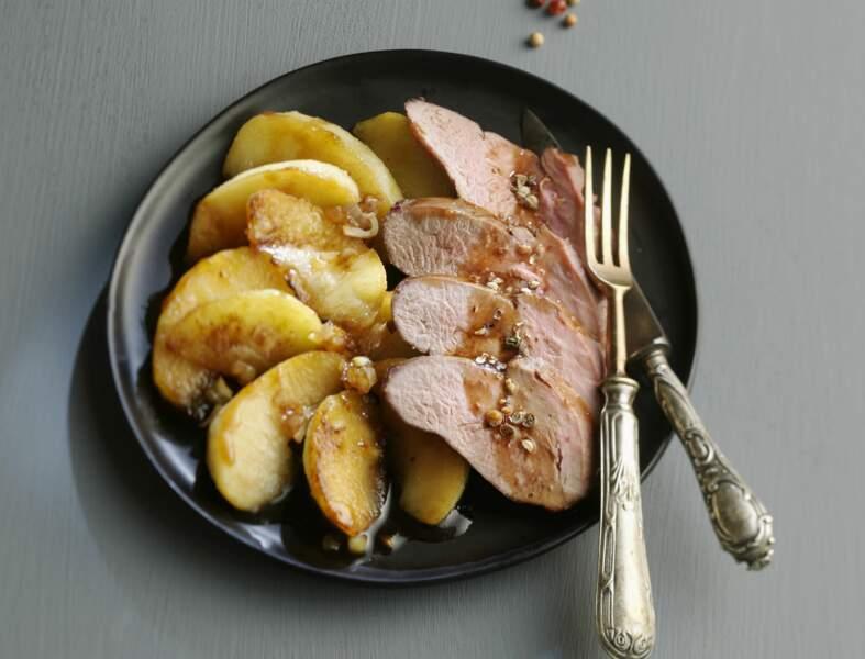 Magret de canard au miel, sauce soja et pommes