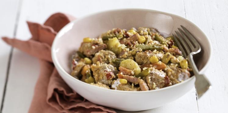 Filet mignon et wok de légumes
