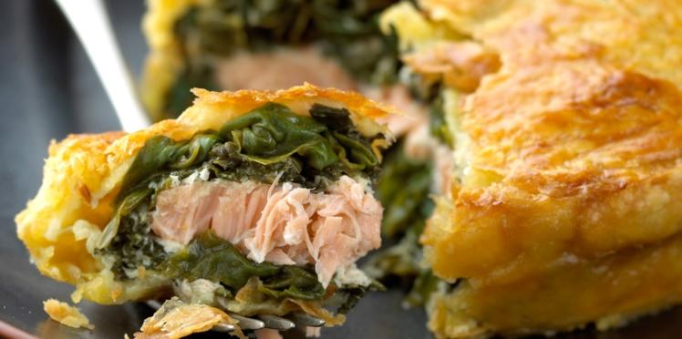 Tourte au saumon et aux épinards
