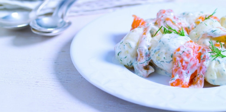 Salade de pommes de terre et saumon gravlax