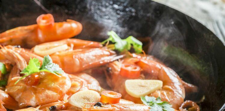 Crevettes sautées à l' ail