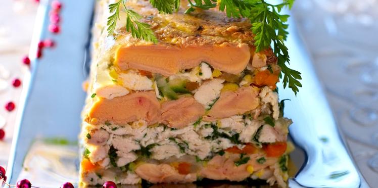 Terrine de foie gras et volaille en gelée