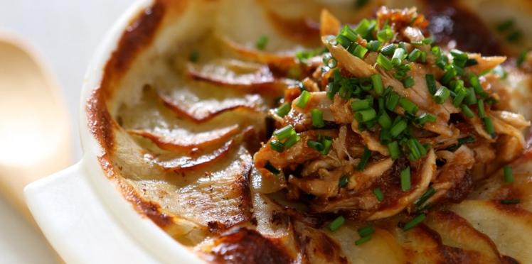 Gâteau de pomme de terre aux restes de poulet rôti