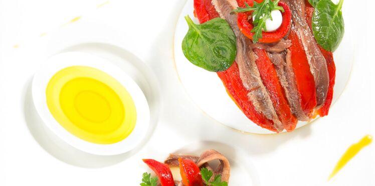 Poivrons et anchois marinés à l'huile d'olive