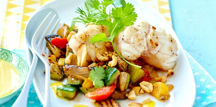 Lotte aux cacahuètes et poêlée de légumes
