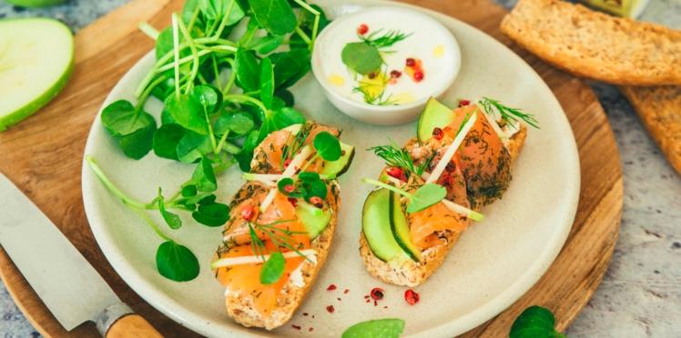 Tartines de Krisprolls au saumon gravlax