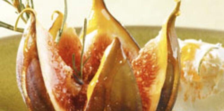 Figues rôties au miel et au romarin