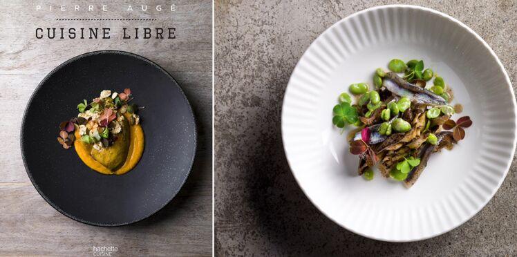 Pleurote rôti entier au beurre mousseux, anchois et févettes de Pierre Augé