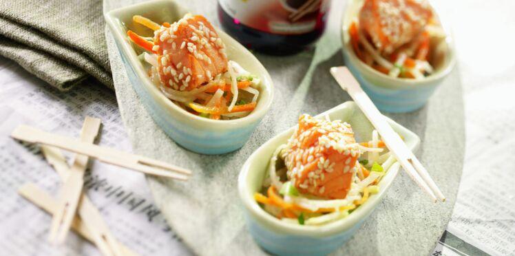 Cubes de saumon au soja et au sésame