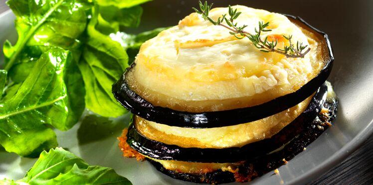Médaillons d'aubergine grillé au charolais