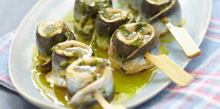 Brochettes de filets de sardines au curry