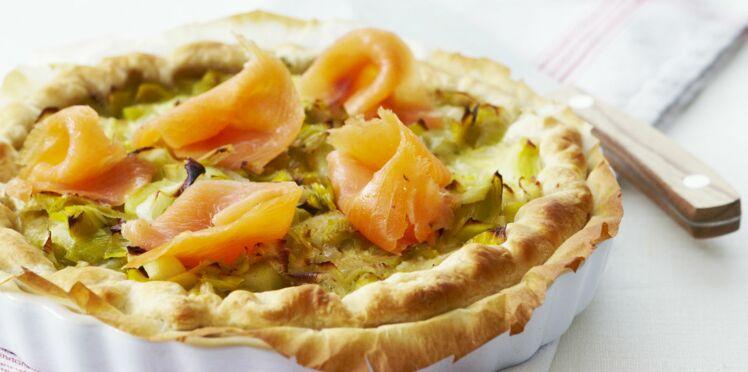 Tarte aux poireaux et saumon fumé version provençale