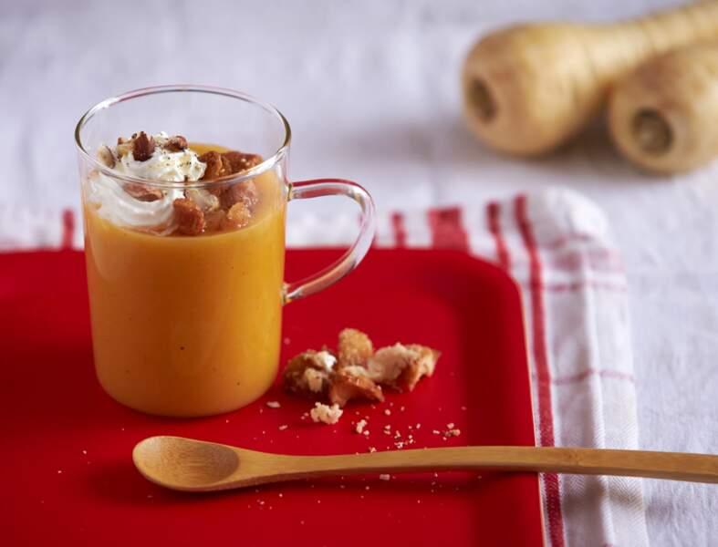 Soupe de panais, butternut, truffe et ses croûtons