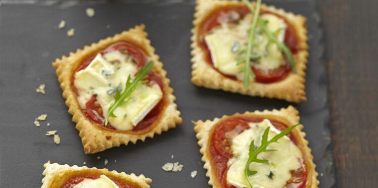 Minis pizzas apéritives au Bresse Bleu