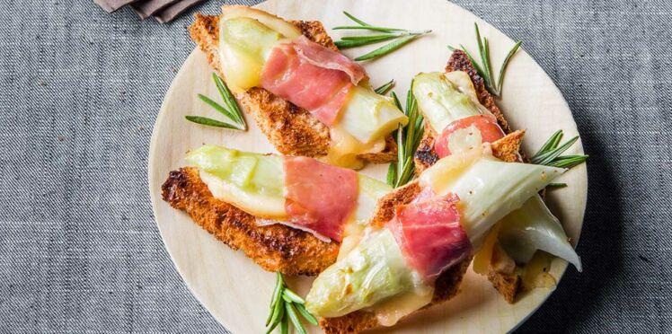 Crostinis d'asperges blanches au serrano et Raclette RichesMonts
