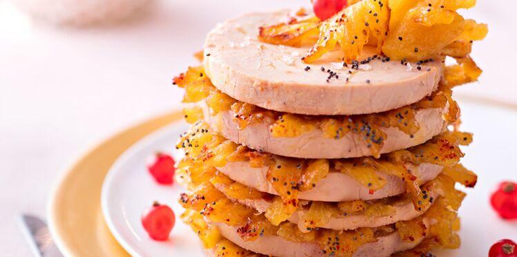 Millefeuille de foie gras à l'ananas