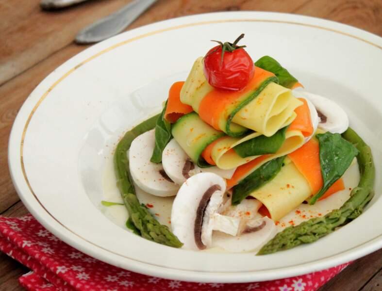 Lasagnes aux champignons de Paris et aux légumes
