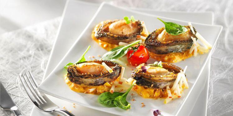 Ormeaux rôtis au curry