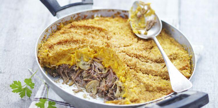 Parmentier de canard, champignons et patates douces