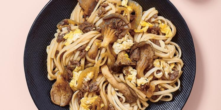 Yaki udon aux pleurotes en 7 minutes