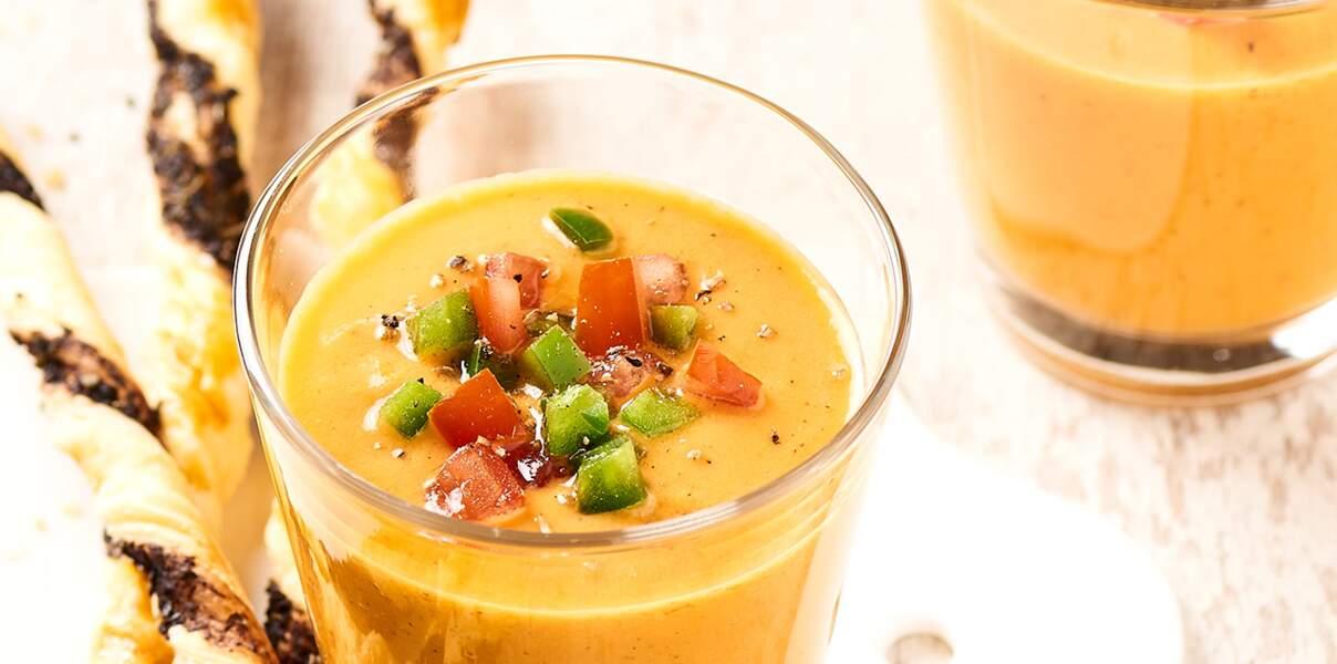 Gaspacho et gressins aux olives