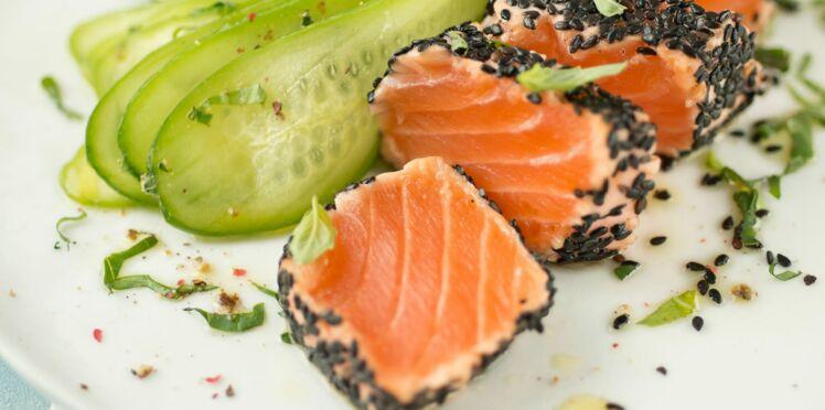 tataki de saumon au s same d couvrez les recettes de cuisine de femme actuelle le mag. Black Bedroom Furniture Sets. Home Design Ideas