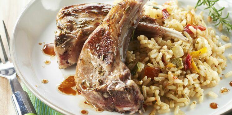 Riz à poêler légumes du soleil et parmesan - Côtes d'agneau au romarin