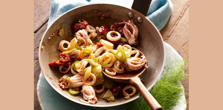 Poêlée de calamars aux légumes