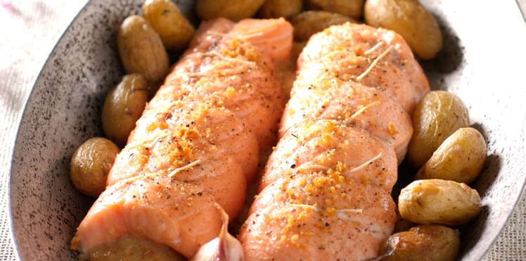 Rôti de saumon et Saint-Jacques