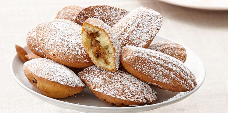 Madeleines fourrées aux noix de pécan, amandes et raisins secs