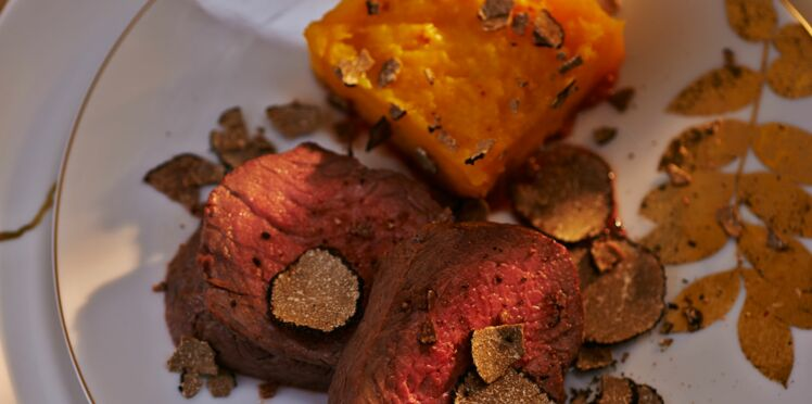 Filet de bœuf à la truffe, gratin de butternut