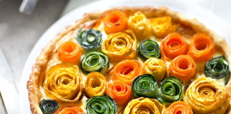 Tarte en rosace de fleurs de légume