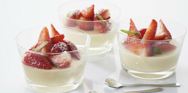 Panna cotta de quenelle et fraises à l'estragon