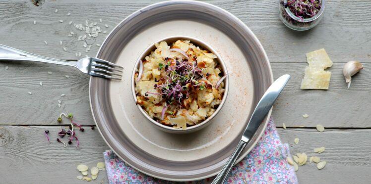 Risotto au chou-fleur grillé, amandes et parmesan