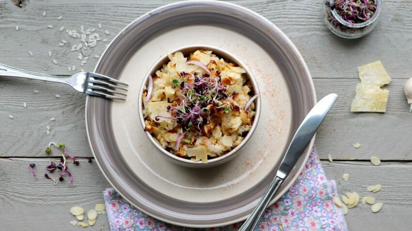 Risotto au chou-fleur grillé, amandes et parmesan : découvrez les recettes de cuisine de Femme ...