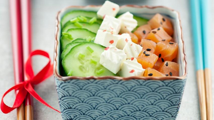 Salade concombres, saumon et Caprice des Anges