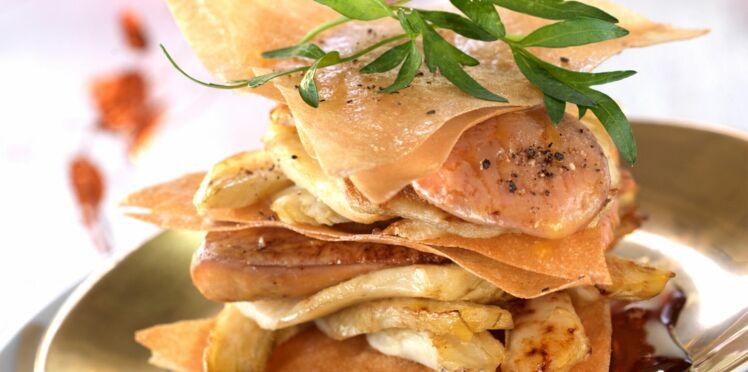 Millefeuilles de foie gras aux topinambours