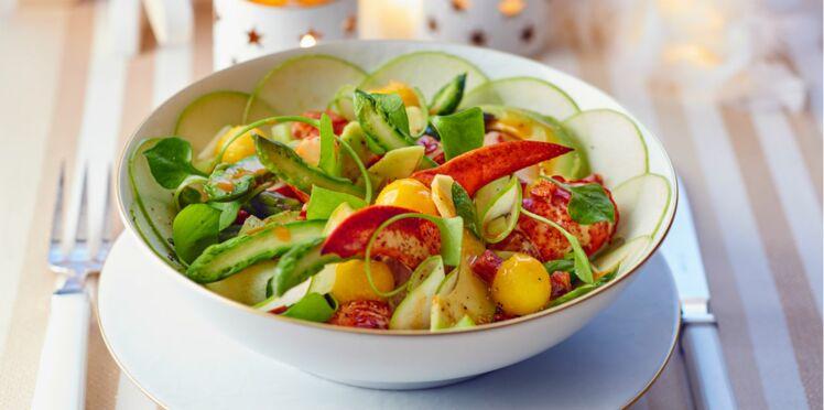 Salade de homard tiède aux légumes croquants, vinaigrette au chorizo