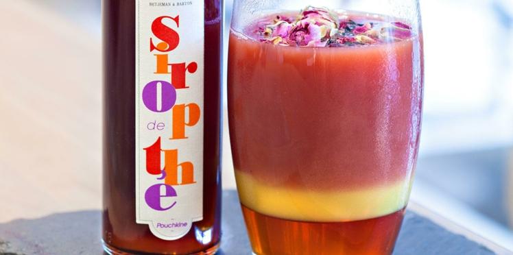 Cocktail au jus de cranberry et au sirop de thé