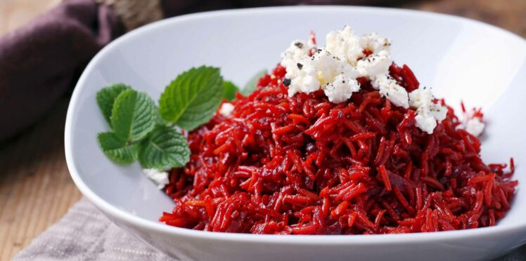 Risotto rose de betterave et feta