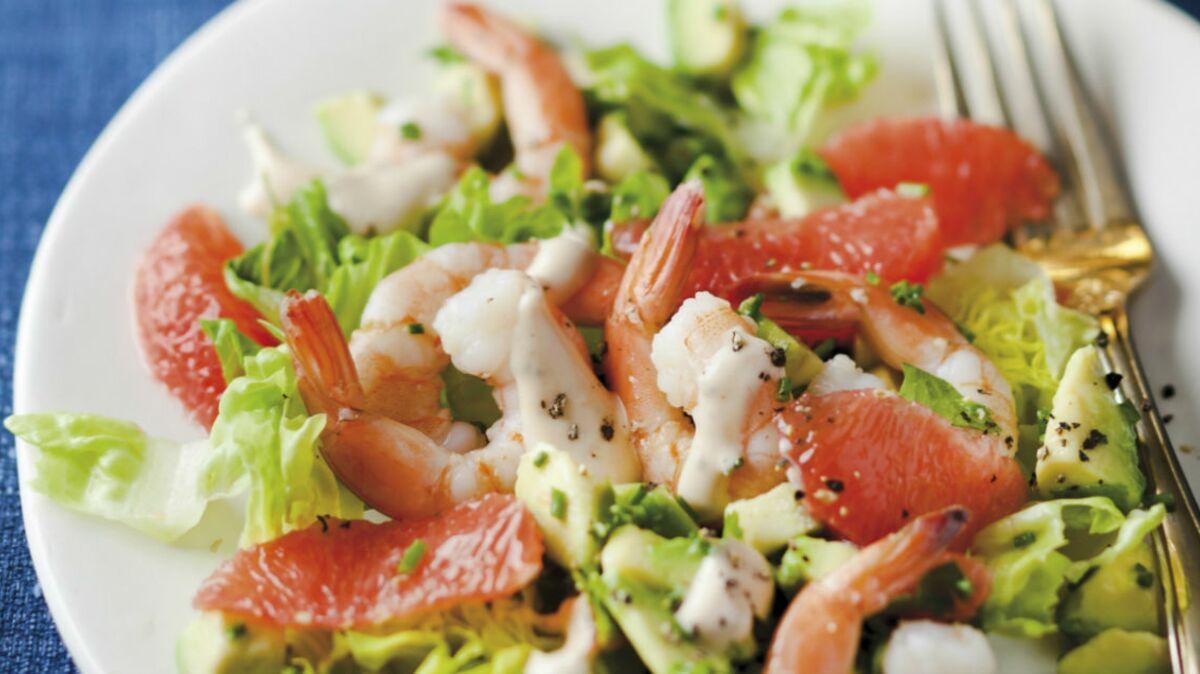 Salade pamplemousse avocat et crevettes