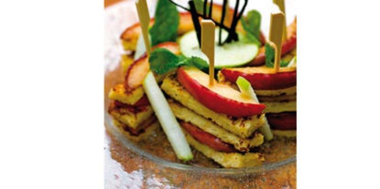 Pommes rôties caramélisées, pain perdu à la cannelle