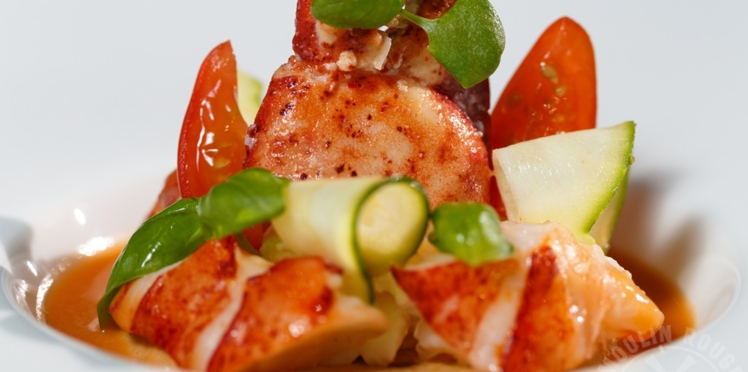 Homard aux légumes du soleil et gaspacho du Moulin Rouge® par David Le Quellec