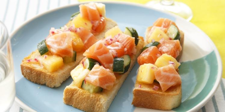 Toasts saumon frais de Norvège et ananas
