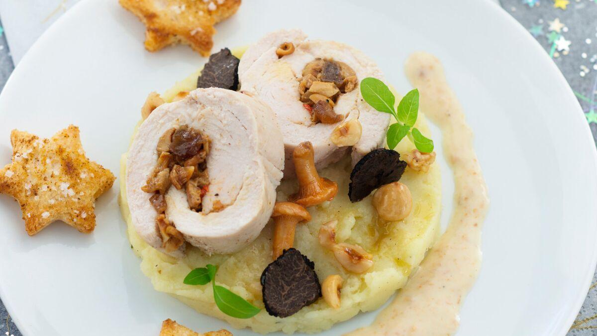 Roulade de dinde et crème de champignons aux truffes