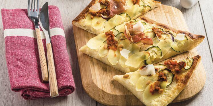 Pizza aux rattes du Touquet, jambon de Parme et pesto