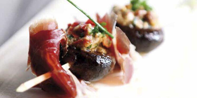 Les champignons de Paris farcis et lomo tranché de Fanny (Top Chef)