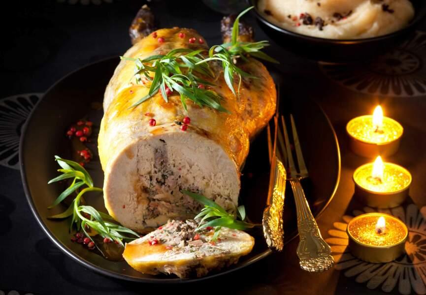 Ballottine de faisan, farce au foie gras