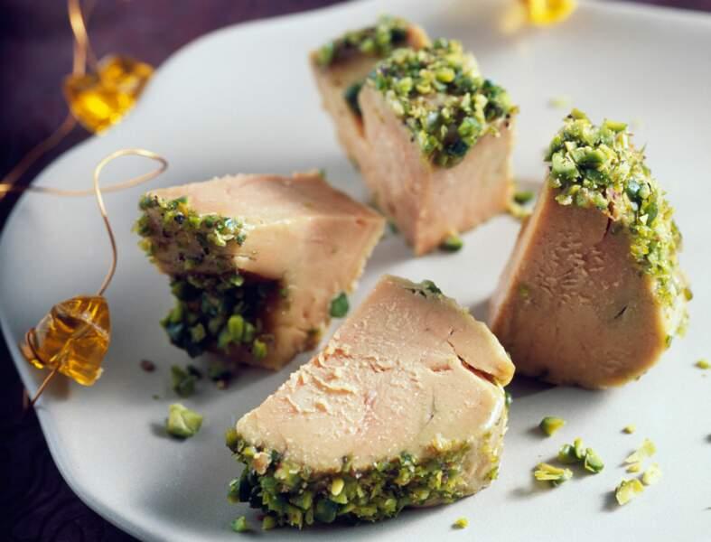 Bouchées de foie gras pané à la pistache